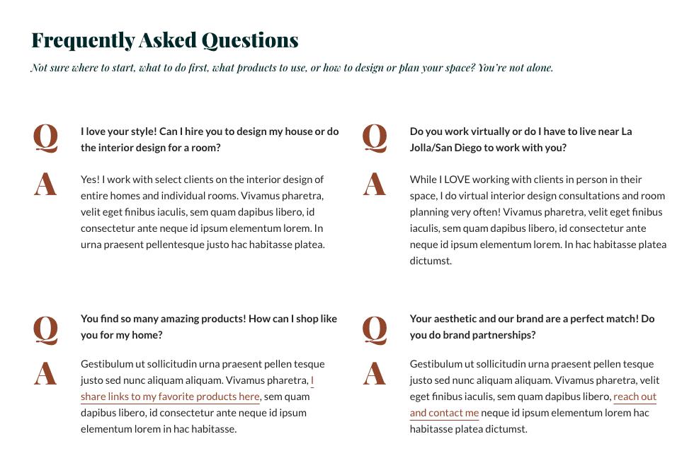 FAQ Mai Columns block