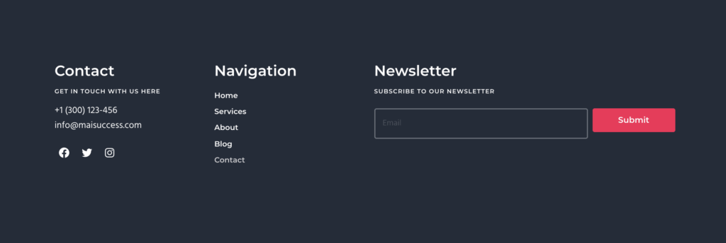 Footer with Mai Columns section