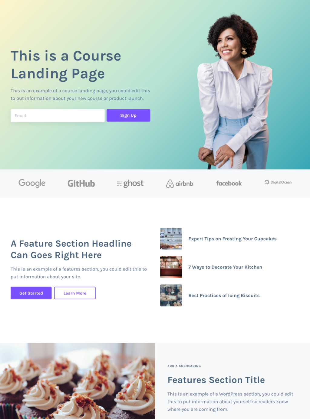 Landing page layout for courses