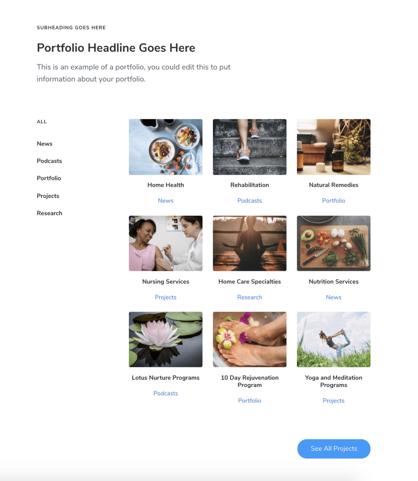 Portfolio section with Mai Post Grid