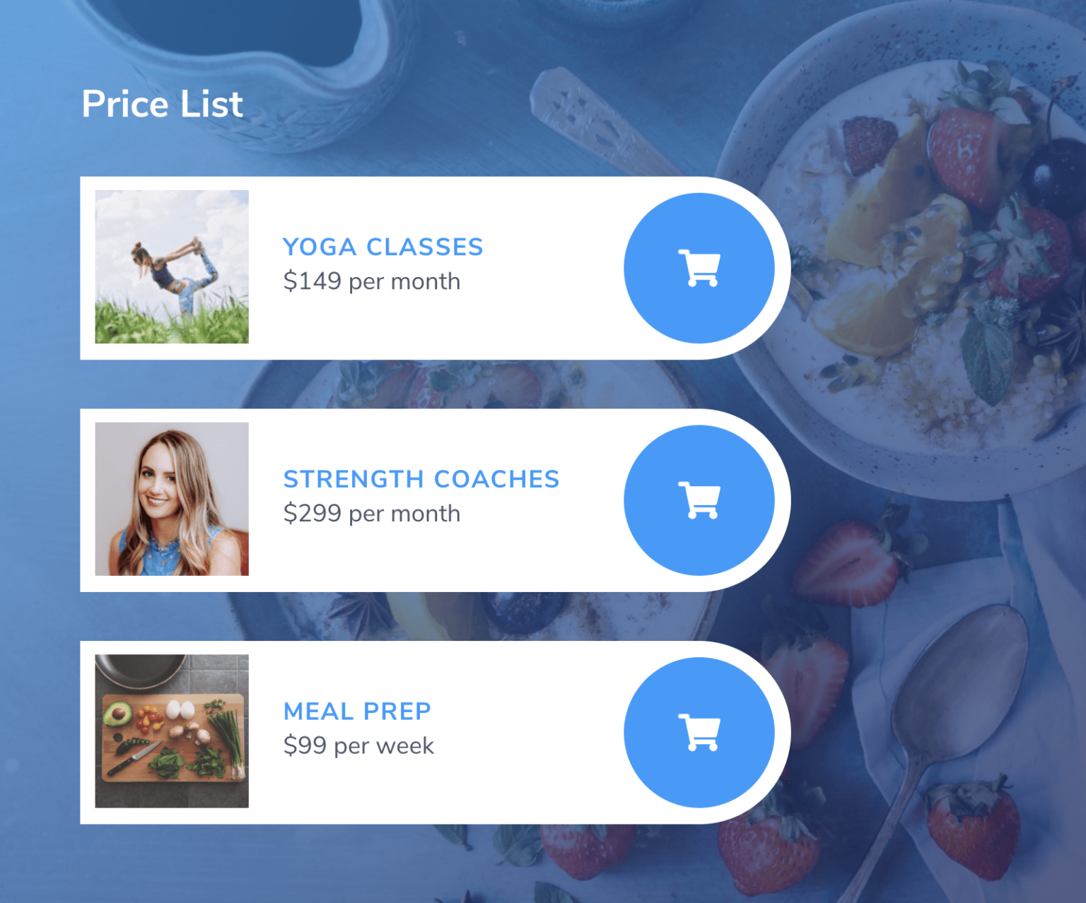 Pricing table with Mai Columns section