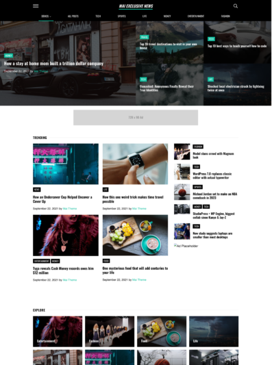 Mai Exclusive News demo homepage