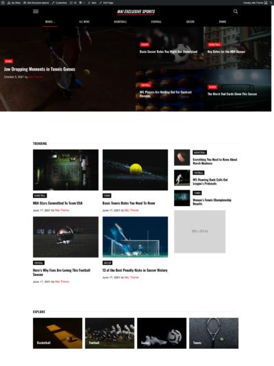 Mai Exclusive Sports demo homepage