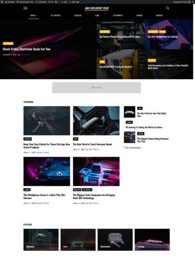 Mai Exclusive Tech demo homepage